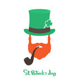 happy saint patricks day card with face irishman vector image