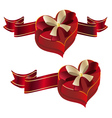 Heart Shaped Box with Ribbon vector image vector image