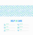 help and care concept with thin line icons vector image vector image