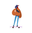 hipster and skateboard trendy guy with beard vector image vector image