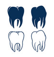 human teeth silhouettes in glyph and outline vector image vector image