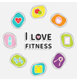 I love fitness icon set isolated Round frame Timer vector image