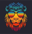 lion head retro eyeglasses vector image vector image
