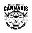 marijuana growing emblem or logo with ufo vector image