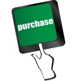 purchase key in place of enter keyboard button vector image vector image