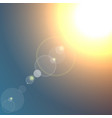 realistic sun burst with flare on dark blue vector image