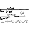 Set of firearms sniper rifles and targets vector image vector image