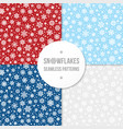 set of seamless patterns with white snowflakes vector image vector image