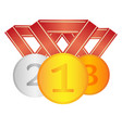 set of winner medals first second third place vector image vector image