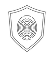 shield with fingerprint icon vector image
