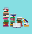 stacks books on blue background vector image vector image