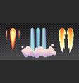 startup launch trails rocket fire contrails vector image vector image