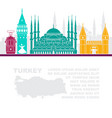 template leaflets with a map of turkey and vector image vector image