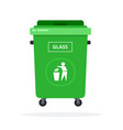 trash can on wheels for sorting glass flat vector image