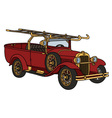 Vintage firetruck vector image vector image