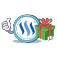 with gift steem coin character cartoon vector image vector image