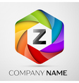 Z Letter colorful logo in the hexagonal on grey vector image vector image