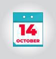 14 october flat daily calendar icon vector image vector image