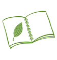 A notebook with a drawing of a green leaf vector image vector image