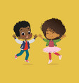 african american boy and girl are playing together vector image vector image