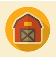 Barn house retro flat icon with long shadow vector image vector image