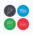 Burger pizza and chips fries icons vector image vector image