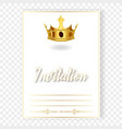 card or invitation with a realistic crown vector image