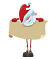 cartoon santa claus with a sheet of paper vector image