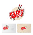 chinese food noodle chopsticks logo business card vector image