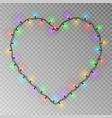 christmas lights heart transparent light g vector image vector image