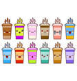 coffee cups icon set characters kawaii face vector image vector image