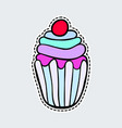 colorful cupcake in patch style clip art for vector image vector image