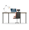 comfortable workplace at office laptop for work vector image vector image