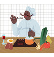 cook prepare food in kitchen from healthy vector image vector image