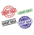 damaged textured great sale seal stamps vector image vector image