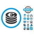 Euro Coin Column Flat Icon with Bonus vector image vector image