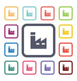 factory flat icons set vector image vector image