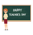 female teacher against a blackboard background vector image