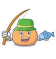 fishing mochi mascot cartoon style vector image vector image