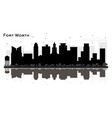 fort worth texas city skyline silhouette with vector image vector image