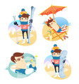 funny men winter mountains holidays summer sea vector image