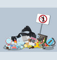 garbage dump with rubbish bin for recycling vector image vector image