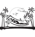 girl lying on a hammock on the beach vector image