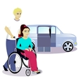 girl with disabilities in a wheelchair and boy vector image vector image