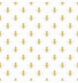golden flying honey bee icon pattern on white vector image