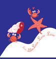 greeting card with crabs in love vector image
