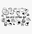 hand drawn sweet collection set with tea pot vector image vector image