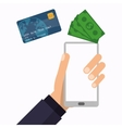 hand holds smartphone wallet technology vector image vector image