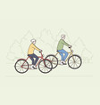 happy active lifestyle old people concept vector image