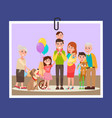happy familly photocard on vector image